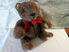 """Gund Bear 1993  RARE Dark Brown Teddy Red Bow  12""""  Jointed AWESOME   EUC"""