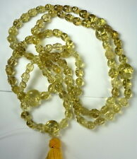 Tibetan High Altitude YELLOW CITRINE Quartz Crystal 112 SKULL PRAYER BEAD MALA