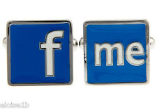 FUN F & ME SILVER CUFFLINKS WITH VELVET POUCH,  UK seller SEE FACEBOOK