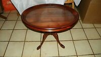 Oval Solid Walnut Carved Coffee Table with Serving Tray  (BM) (CT48)