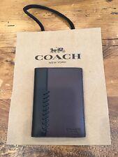 Coach Men's Leather Passport Case Wallet Baseball Stitch F22538 w/Gift Box $150