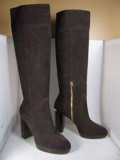sz 10 NEW $295 MICHAEL KORS Regina Platform Coffee Brown Suede Leather Boots