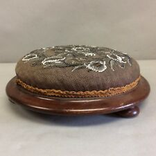 "Victorian Round Beadwork Footrest, Footstool 12"" Diameter"