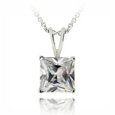 Necklace, 8mm in Brass 3ct Cz Square Solitaire