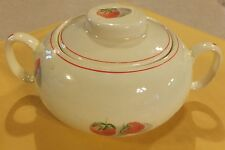 VINTAGE CAVITT-SHAW W.S. GEORGE SHORTCAKE SUGAR BOWL WITH LID #293A STRAWBERRIES