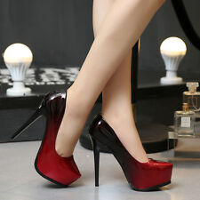 Red Sexy Women's PU Party High Heels Club Platform Pumps Party Dress Shoes