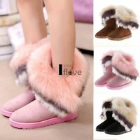 Womens Suede Faux Fur Warm Winter Mid Calf Snow Boots Low Ankle Boots Shoes ILOE