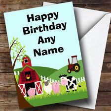 Farm Animals And Tractor Personalised Birthday Greetings Card