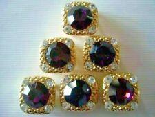 2 Hole Slider Beads Gaiety Amethyst in Gold Crystal Swarovski Elements 6 Pieces