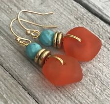 Min Favorit Tangerine Swirl Sea Glass, Turquoise & Gold Pl Artisan Earrings