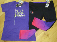 Under Armour Girl Power top & capri NWT girls' L YLG black gray pink purple $60