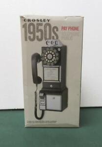 Crosley 1950's Retro Pay Phone Black Old Fashioned Telephone - new open box