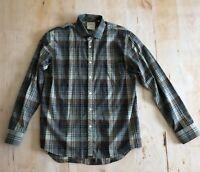 BILLY REID Standard Cut Mens Button Down Shirt Gray Plaid Size L (Large)