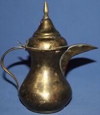 VINTAGE BRASS COFFEE TEA POT LIDDED JUG WITH SPOUT