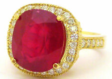 14K YELLOW GOLD 7.91CT CUSHION RUBY & ROUND DIAMOND ANTIQUE DESIGN BRIDAL RING
