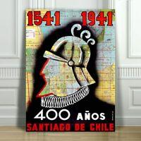 """VINTAGE TRAVEL CANVAS ART PRINT POSTER - Santiago Chile 400 Anos -18x12"""""""
