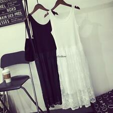 Chic Women Lace Layer Overall Empire Waist Summer Beach Solid Casual Vest Dress