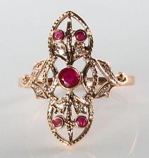 DIVINE 9CT ROSE GOLD INDIAN RUBY & DIAMOND LONG RING FREE RESIZE