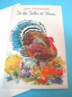Vintage Greeting Cards Thanksgiving Colorful Turkey Glittery Fruits Unused