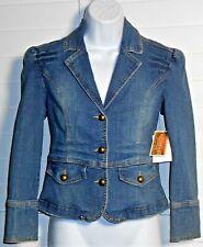 Arizona Juniors Dark Stonewash Denim Jacket Blazer Size M NWT