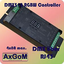 DMX 512 décodeur rgbw contrôleur DMX = rj45 - 4 x 8a pwm-Max 768w - 12v+24v LED