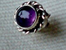 SINGLE STERLING SILVER 8mm. STUD EARRING WITH AMETHYST CABOCHON STONE £5.50 NWT