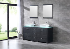 60� Bathroom Vanity Cabinet Double Ceramic Vessel Sink Glass Top&Mirror Set
