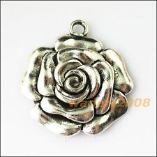 1 New Rose Flower Tibetan Silver Tone Charms Pendants 46.5x51.5mm