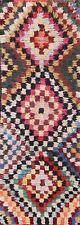Vintage Geometric Modern Moroccan Oriental Runner Rug Handmade Plush Wool 2x7 ft