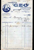 """PARIS (XIII°) CONSERVES ALIMENTAIRES / GEO """"GEO FOUCAULT & SCHWEITZER"""" en 1932"""