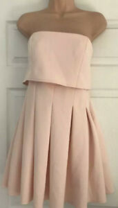 ASOS Ladies Peach Bandeau Strapless Stretchy Summer Dress Holiday Size 14