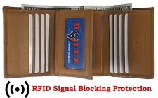 Mens Trifold Leather Wallet RFID Blocking TAN New Bullz Wallets!