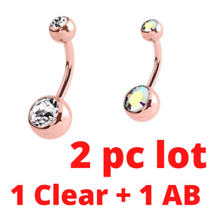 PAIR 14G ROSE GOLD TITANIUM DOUBLE AB + CZ BELLY BUTTON NAVEL RING BODY PIERCING