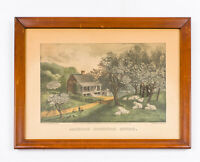 """Early Currier & Ives Reproduction American Homestead Spring 7 7/8"""" x 12 3/8"""""""