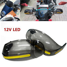 Universal Motorcycle Windshield Hand Guard Handlebar w/LED Daytime Running Light