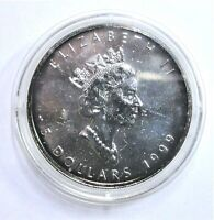 CANADA Kanada Maple Leaf 5$ 1999 SILBER-999‰ 1 Oz / Unze, st / unc. & mit Kapsel
