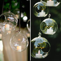 Clear Glass Hanging Candle Holder Bauble Fillable Sphere Tea Light Candle Decor1