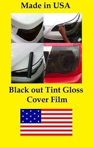 "36"" x 15"" Black out Tint Gloss  Headlight Taillight Vinyl cover Film universal"