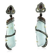 18k Gold Sterling Silver Pave Diamond Gemstone Dangle Earrings Fashion Jewelry