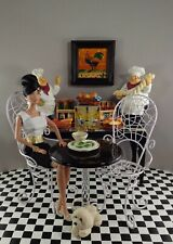 1/6 Scale Acrylic Dining Table w 2 Bistro Chairs for FR/Barbie Dolls Displays