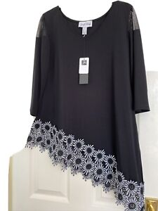 Joseph Ribkoff Black Asymmetrical Daisy Top