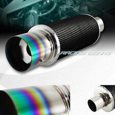 """4"""" N1 Green Burnt Tip Carbon Fiber Wrap Exhaust Muffler 2.5"""" Inlet Universal 3"""