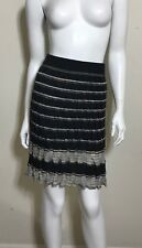 M Missoni Stripe Knit Skirt In Grey US 2