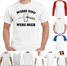 Beer T-Shirt Wish You Were Mens Drunk Drinking Party Pink Floyd Parody Gilmour