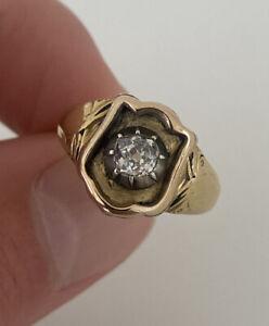 18ct Gold Georgian Old Cut Diamond Large Heavy Ring