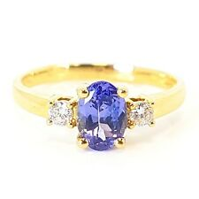 1.00 Carat Tanzanite And Diamond Ring, 18k Yellow Gold