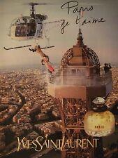 PUBLICITÉ 1994 YVES SAINT LAURENT PARIS JE T'AIME - HÉLICOPTÈRE - ADVERTISING