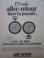 1969 PUB COMPAGNIE AERIENNE AIR INTER AIRLINE MONTRE WATCH CHRONO FRENCH AD