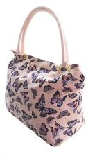 Womens Canvas Beach Bag Ladies Large Butterfly Tote Summer Holiday Handbag PINK