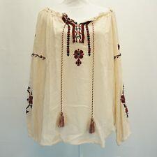 John Paul Richard Women Top Embroider Peasant Crinkle Blouse Top Cream M $50